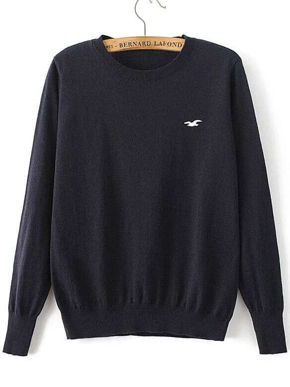 Navy Seagull Embroidered Ribbed Trim Sweater