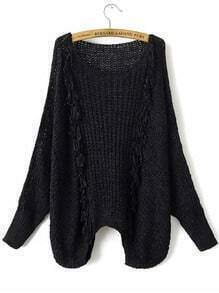 Black Hollow Out Fringe Detail Batwing Sleeve Sweater