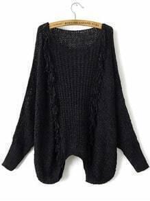 Jersey hueco de manga murciégalo con detalle de flecos - negro