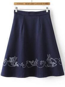 Navy Embroidery Zipper Side A Line Midi Skirt