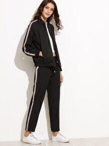 Black Striped Zipper Jacket With Drawstring Pants