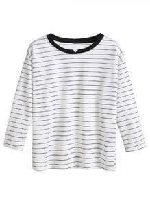 Camiseta de rayas cuello en contraste hombro drapeado - blanco