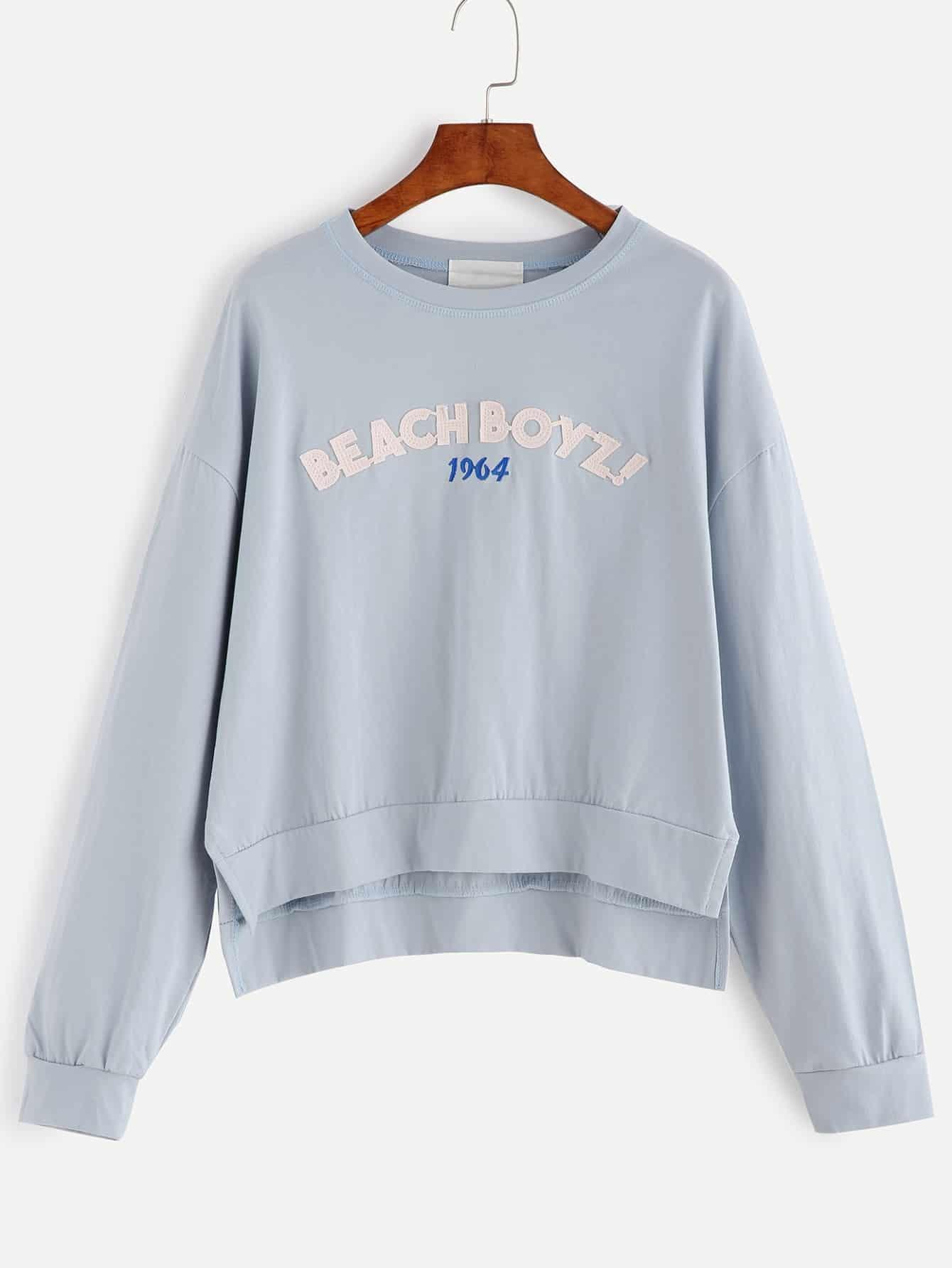 sweatshirt drop schulter vorne kurz hinen lang buchstaben blau german romwe. Black Bedroom Furniture Sets. Home Design Ideas
