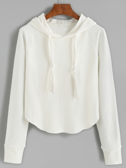 White Raglan Sleeve Hooded Sweatshirt