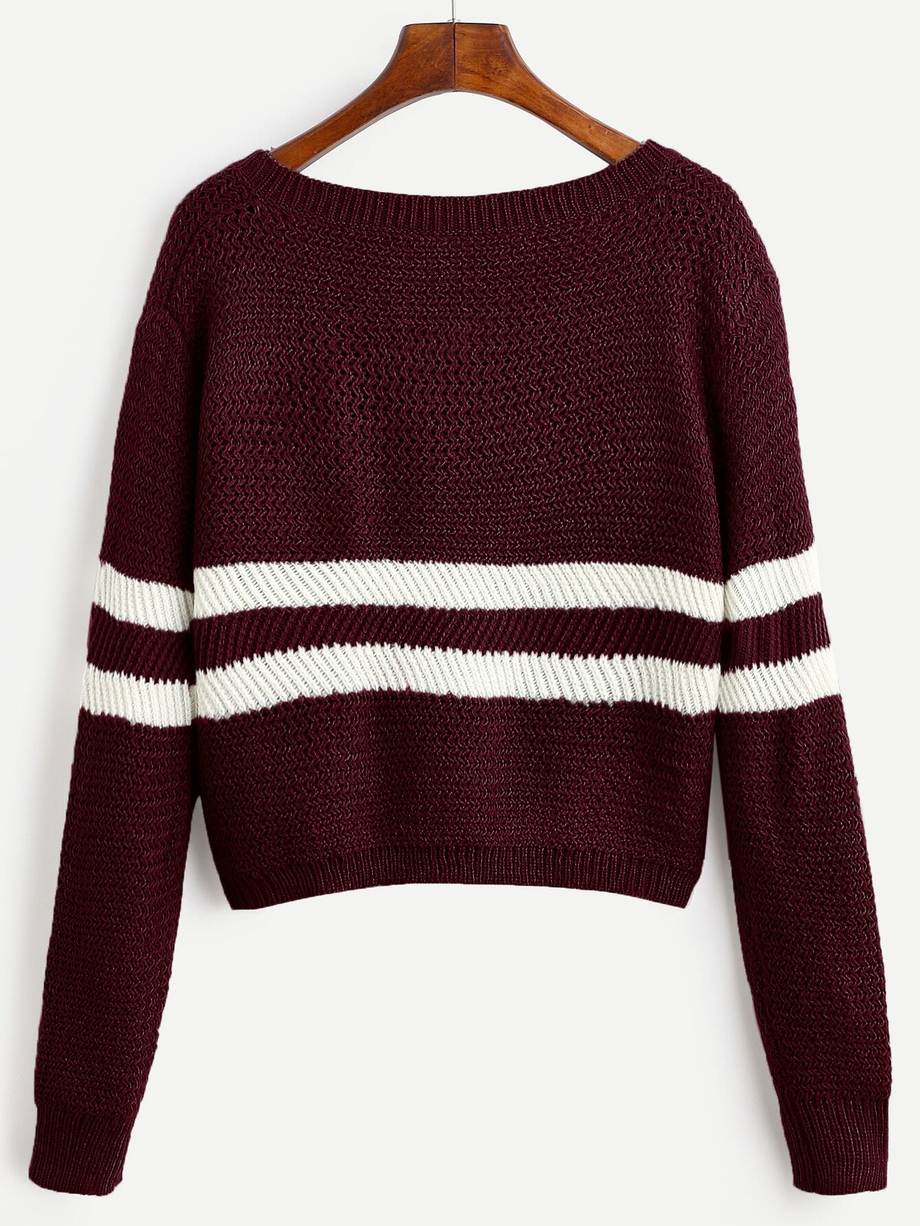 Blue and burgundy striped mens sweaters