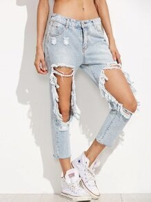 Blue Bleached Distressing Ripped Knees Jeans