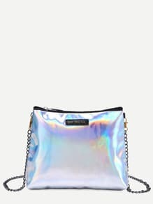 Silver Faux Leather Zip Closure Shoulder Bag With Chain Strap