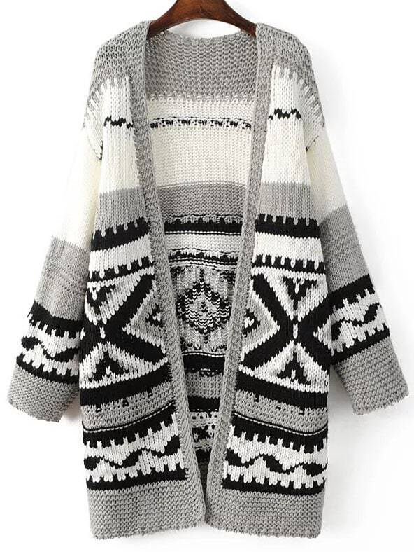 Grey Tribal Pattern Drop Shoulder Long Sweater Coat