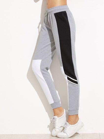 Grey Color Block Drawstring Waist Casual Pants