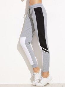 Grey Color Block Drawstring Waist Casual Pants