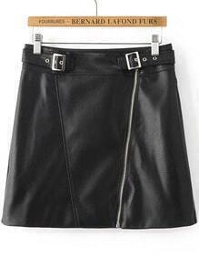 Black Oblique Zipper PU Skirt With Buckle