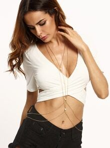 Gold Layered Faux Pearl Body Chain