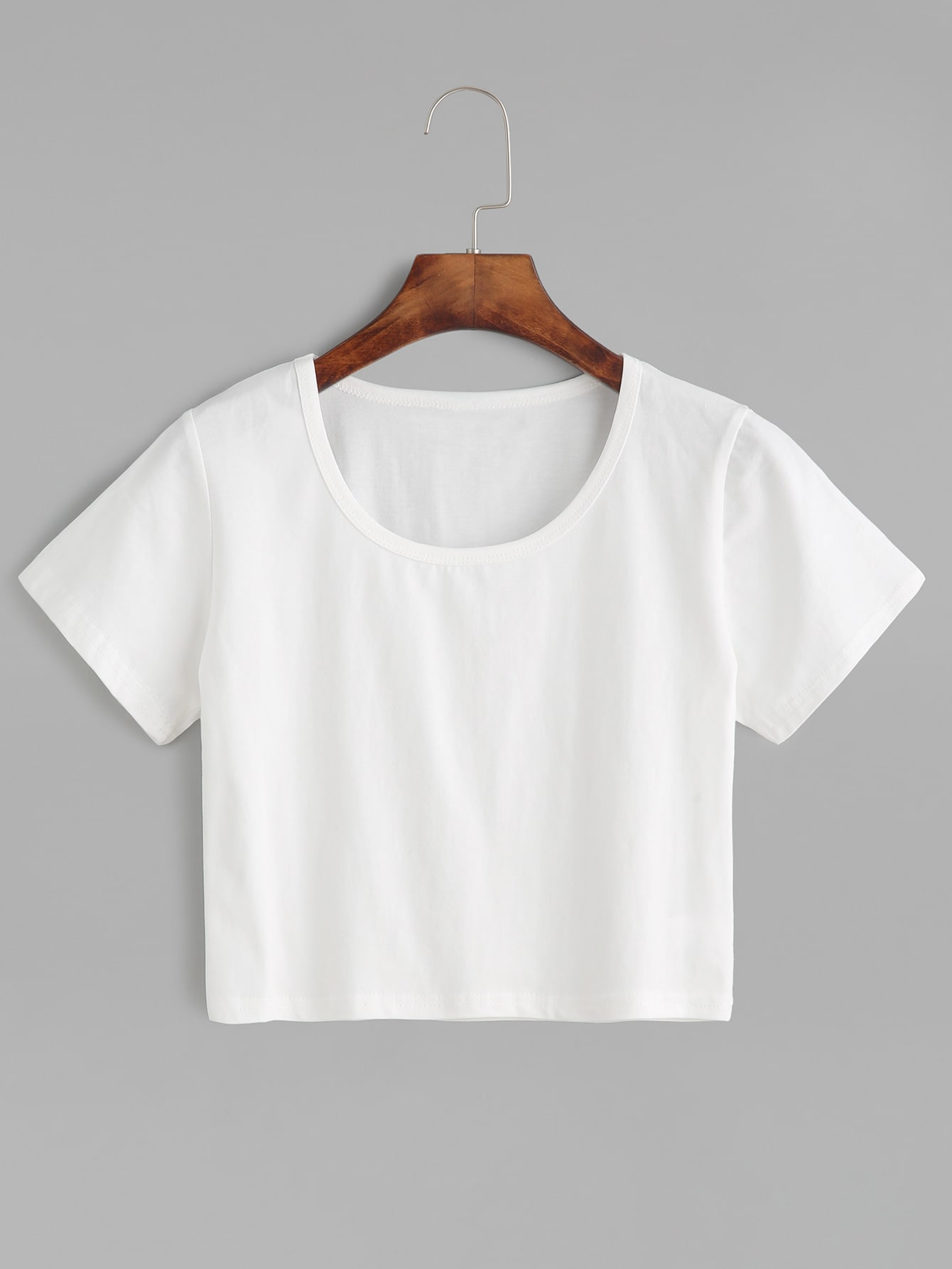 White Plain Crop T-shirtFor Women-romwe