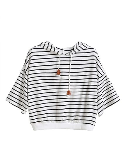 White Striped Dropped Shoulder Seam Drawstring Hooded T-shirt