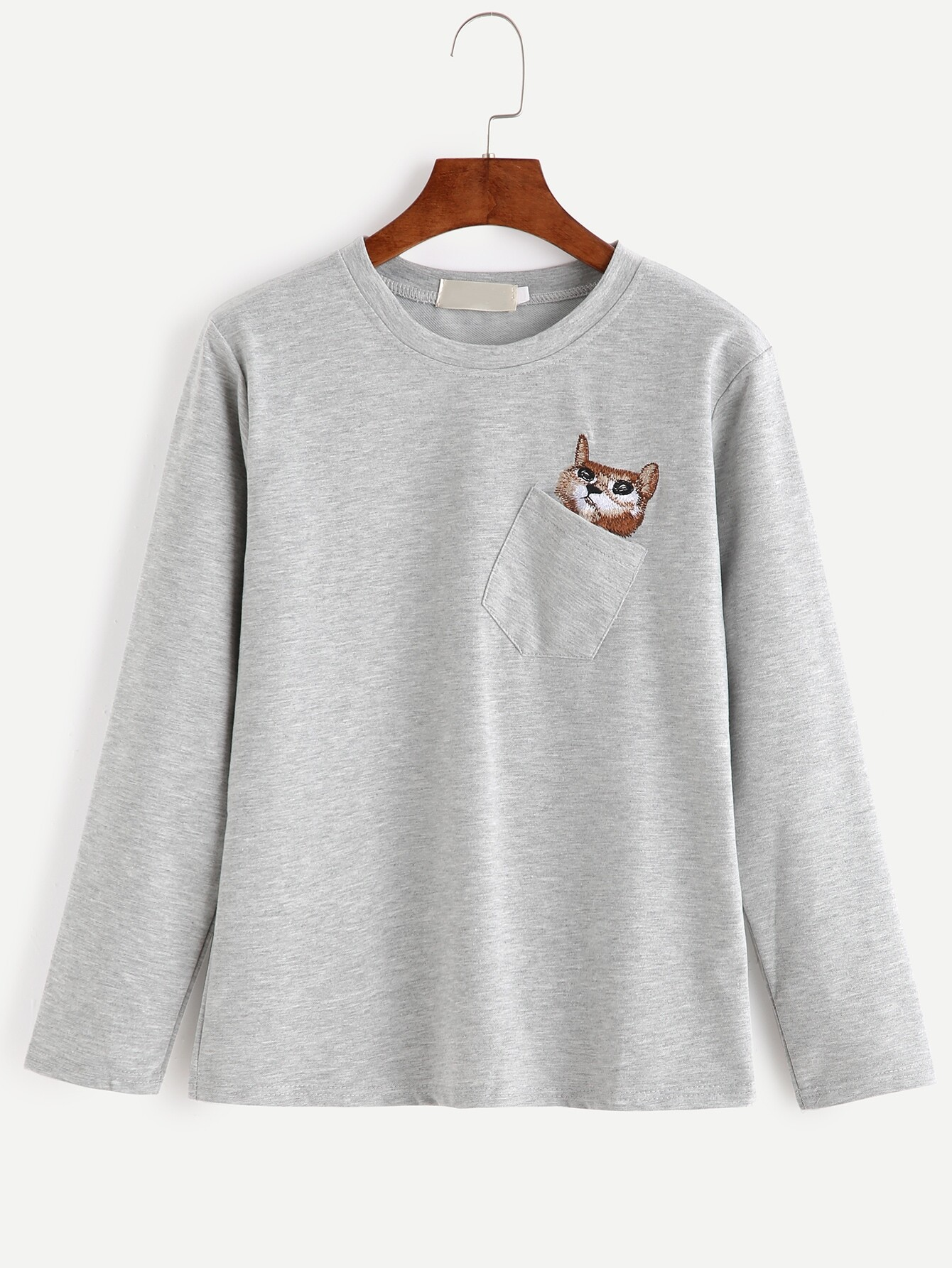 Heather grey cat embroidered pocket t shirt