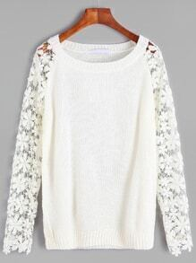 White Contrast Crochet Lace Sleeve Sweater