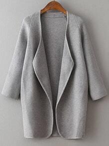 Veste longue col drapé manche raglan - gris