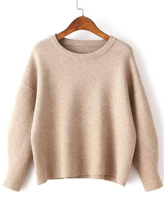 Khaki Round Neck Ribbed Trim Drop Shoulder Knitwear