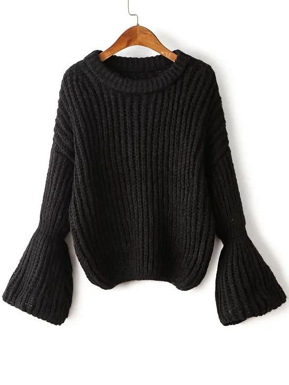 Black Drop Shoulder Lantern Sleeve Oversized Sweater sweater160824206