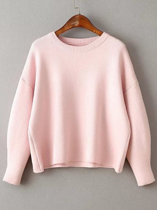 Pink Round Neck Ribbed Trim Drop Shoulder Knitwear