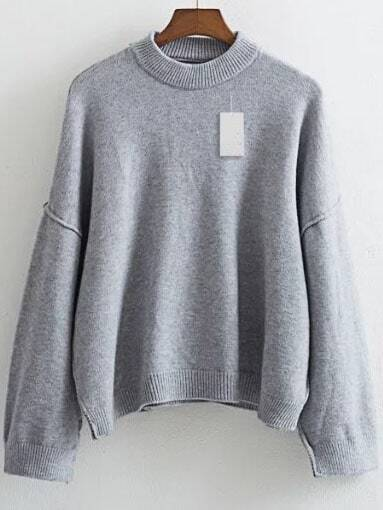 Grey Crew Neck Drop Shoulder Ribbed Trim Sweater