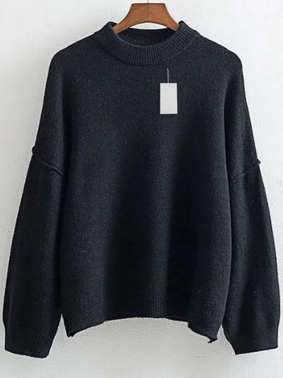 Black Crew Neck Drop Shoulder Ribbed Trim Sweater sweater160824216