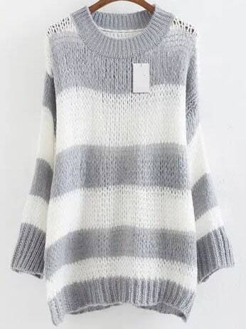 Grey Striped Ribbed Trim Drop Shoulder Mohair Sweater sweater160824220