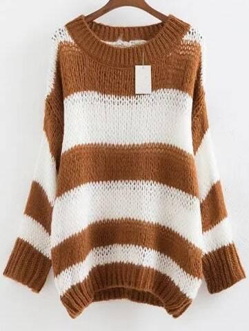 Khaki Striped Ribbed Trim Drop Shoulder Mohair Sweater sweater160824221