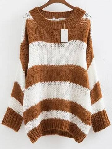 Khaki Striped Ribbed Trim Drop Shoulder Mohair Sweater