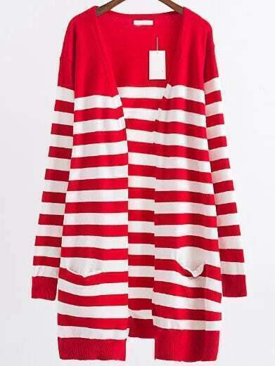 Red Striped Ribbed Trim Open Front Long Cardigan sweater160824224