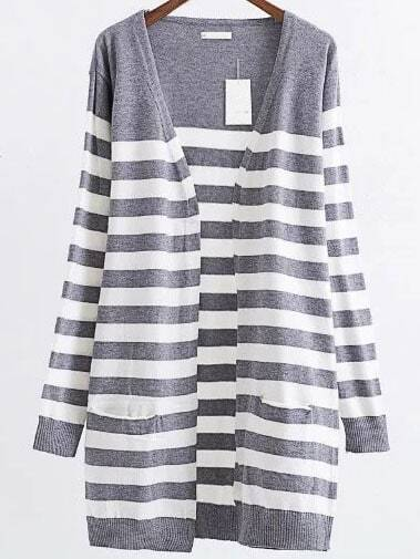 Grey Striped Ribbed Trim Open Front Long Cardigan sweater160824225