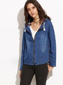 Blue Zipper Up Drawstring Hooded Jacket With Pocket
