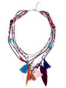Collier multicouche avec perle et frange - multicolore
