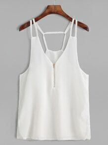 White V Neck Open Back Zipper Chiffon Cami Top