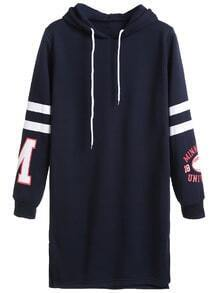 Navy Printed Varsity Striped Drawstring Hooded Sweatshirt Dress