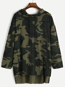 Camo Print Drop Shoulder High Low Drawstring Hooded Sweatshirt