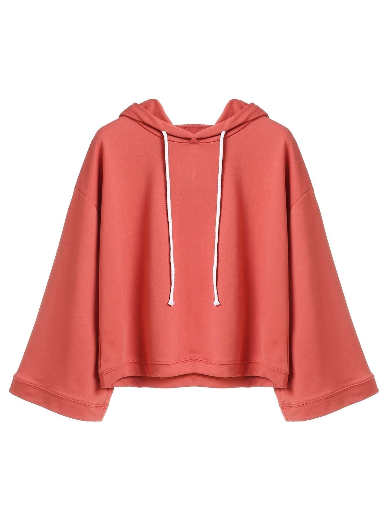 Sweat shirt plain en capuche avec lacet rouge brique for Interieur paupiere inferieure rouge