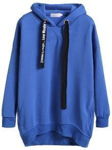 Royal Blue High Low Hooded Sweatshirt With Printed Drawstring