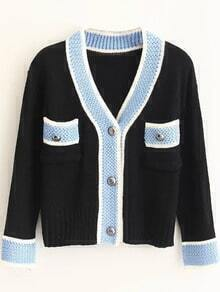 Contrast Trim Button Up Sweater Coat With Pockets