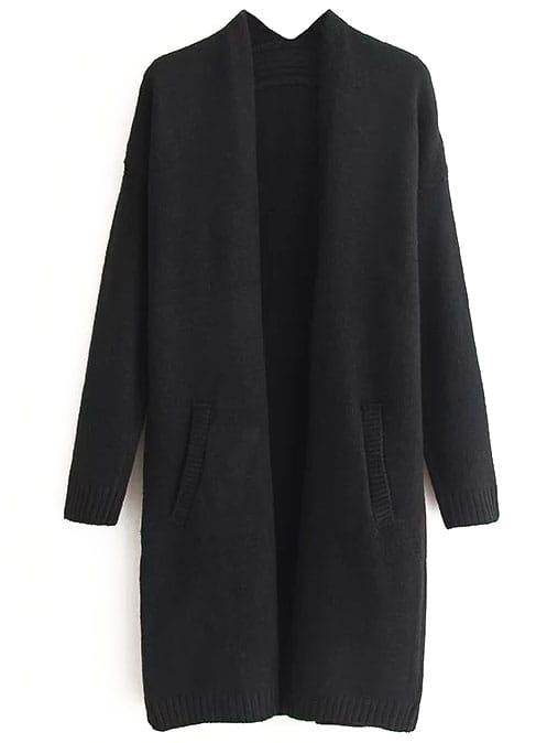 Black Ribbed Trim Drop Shoulder Long Sweater Coat sweater160825204