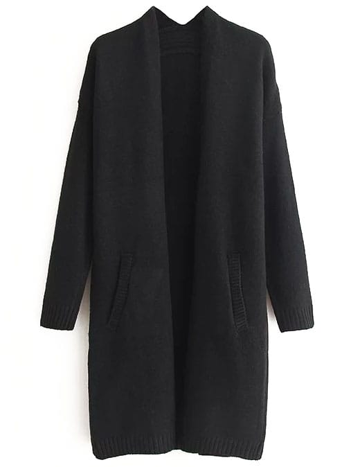 Black Ribbed Trim Drop Shoulder Long Sweater Coat