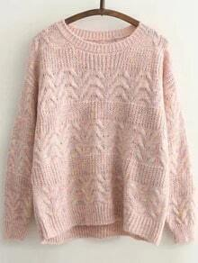 Pink Cable Knit Round Neck Drop Shoulder Sweater