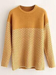 Ginger Wave Patterned Drop Shoulder Sweater