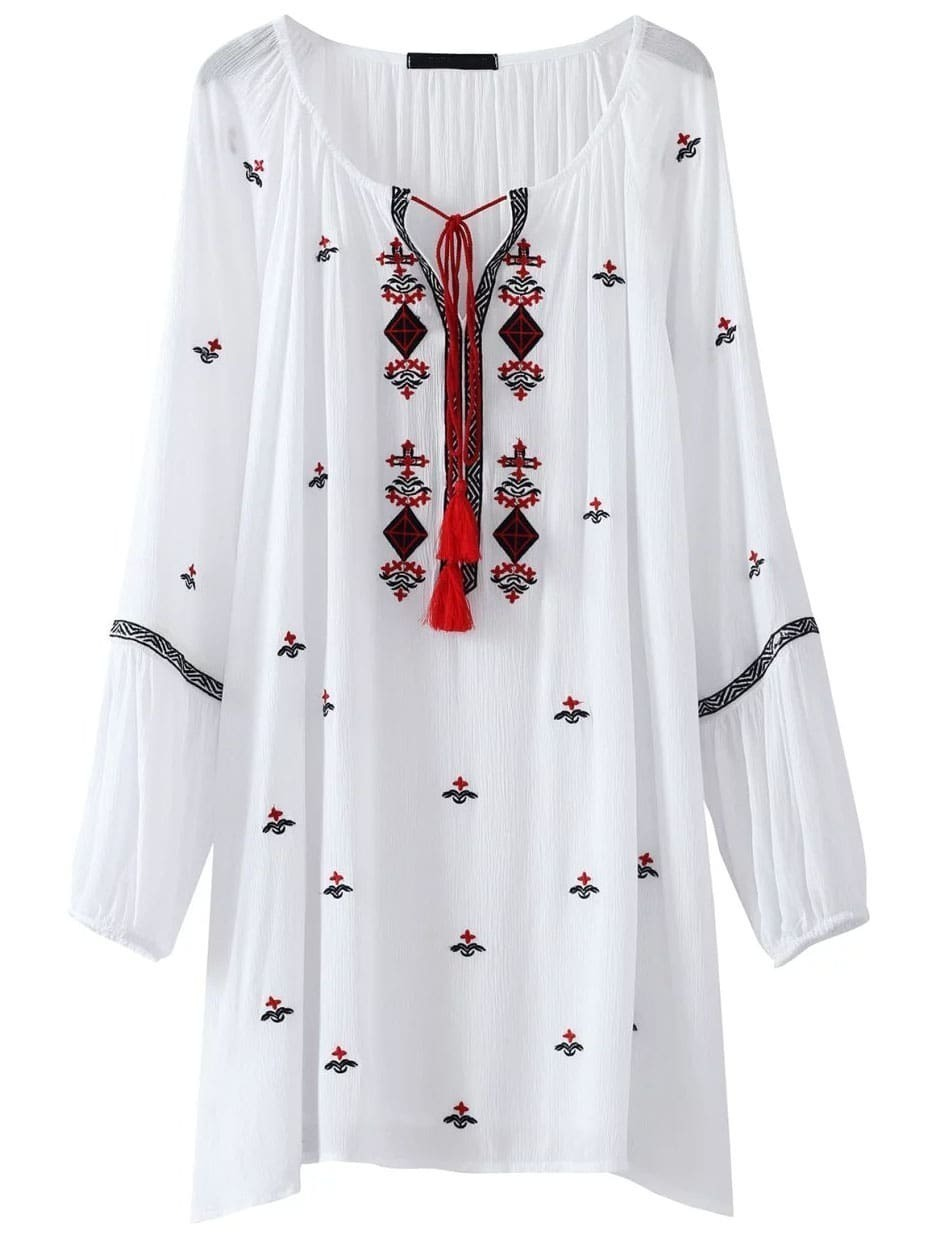 robe droite en broderie col avec lacet en frange blanc french romwe. Black Bedroom Furniture Sets. Home Design Ideas