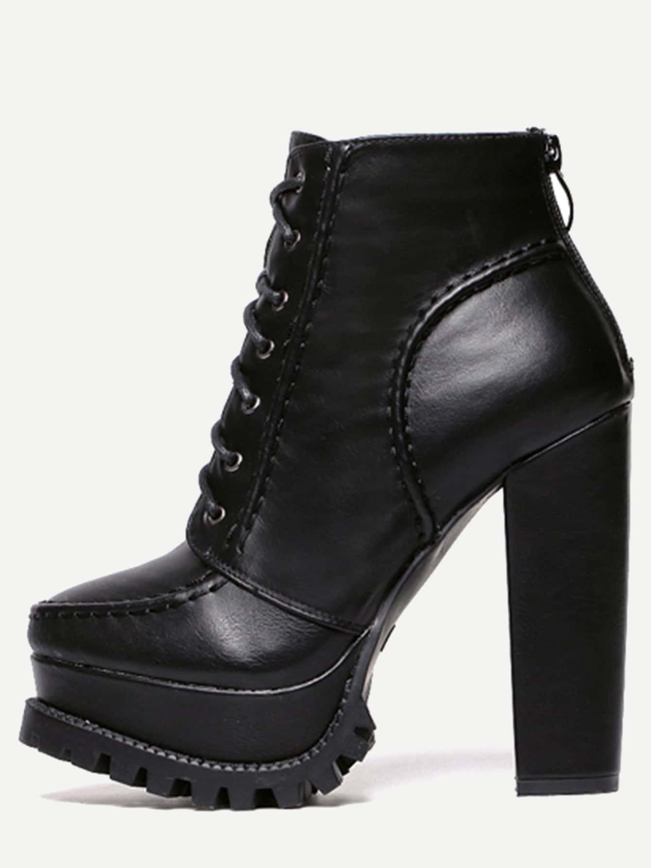 black faux leather lace up back zipper boots