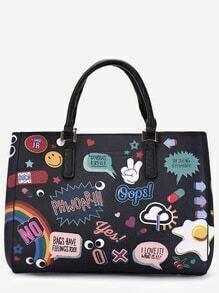 Black PU Cartoon Print Tote Bag With Clutch