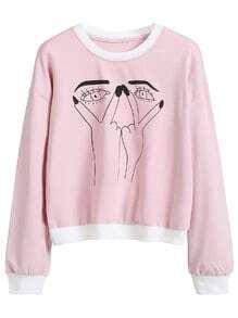 Pink Gesture Print Contrast Trim Sweatshirt