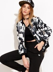 Black And White City Print Zip Up Bomber Jacket