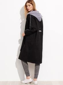 Black Printed Drop Shoulder Trench Coat With Contrast Hood