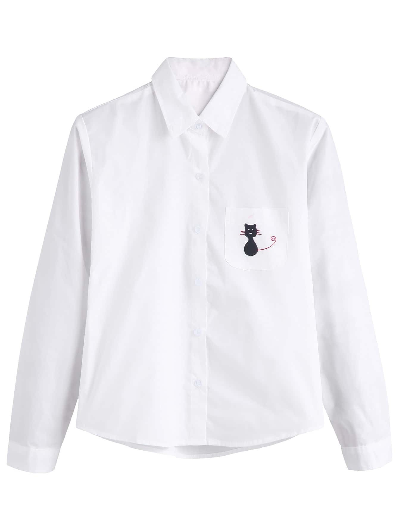 White pocket cat embroidered shirtfor women romwe